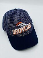Denver Broncos Hat Cap Blue/White Plaid w/Vtg Orange Logo Athletics NFL Pro Line