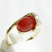 Ring Gold 585er Karneol Brillanten Goldringe 14 kt. Diamanten Edelsteine