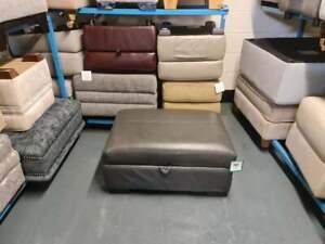 Ex-display Mazzini dark grey leather large storage footstool