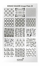 KONAD Square Image Plate 20 for Stamping Nail Art Transfer Stencils Designs