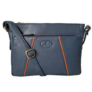 Rowallan Navy Blue Leather Handbag, Shoulder Bag