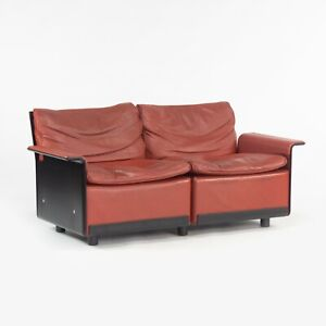 1980s Vintage Dieter Rams for Vitsoe 620 Red Leather and Black Two Seat Settee