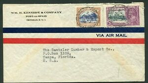 1935 Silver Jubilee Trinidad & Tobago  24+2c on commercial air mail cover to USA