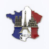 "3D Metal Fridge Magnet ""Paris Landmarks France Flag Map"" Souvenir Gift New"