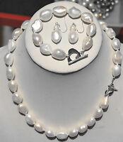 Pretty natural 9-10mm Akoya white baroque pearl necklace Bracelet Earrings Set
