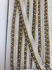ATTRACTIVE INDIAN PEARL & ANTIQUE GOLD BEADED RIBBON LACE TRIM - SOLD by METRE