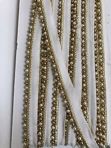 INDIAN PEARL & ANTIQUE GOLD BEADED RIBBON LACE TRIM BORDER- SOLD by METRE