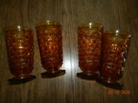 Set of 4 Vintage Amber Cubist Indiana WHITEHALL ICE TEA WATER Footed Glasses