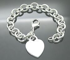 "Authentic Tiffany & Co Iconic Heart Tag Sterling Silver 7.75"" Bracelet"