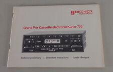 Manual Becker Radio Grand Prix Cassette Electrónica Mensajero 779 12/1987