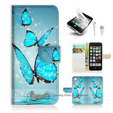 ( For iPhone 5C ) Wallet Case Cover! Beautiful Butterfly Blue P0225