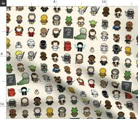 Chibi Kawaii Science Fiction Characters Fabric Printed by Spoonflower BTY