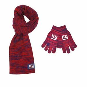 New York Giants NFL Licensed Color Blend Scarf And Glove Set for Women