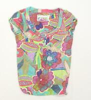 Next Womens Size 10 Floral Cotton Multi-Coloured Top (Regular)