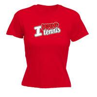 Funny Novelty Tops T-Shirt Womens tee TShirt - I Love Tennis Stencil