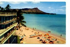 Waikiki Beach-Honolulu Hawaii-Pan American Airline-Vintage Advertising Postcard