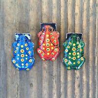 3 Vintage Original  Tin Litho FROG CLICKERS Crickets Toys 1930s NOS JAPAN