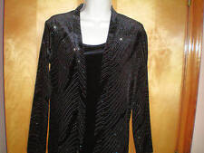 NWT womens Size S black ELEMENTZ l/s sparkly 2-fer twinset cardigan shirt $44