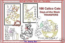 Calico Cats embroidery Tea Towels transfer pattern IRON-ON VINTAGE No. 166