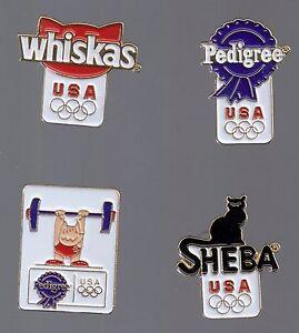 1992 Pedigree Olympic 4 Pin Set Sheba Whiskas Weightlifting