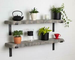 Grey Round Corners Live Edge-Thick-Lipped-Wax Finish-Rustic Shelves