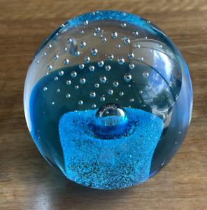 Blue Art Glass Paperweight