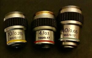 3 X MICROSCOPE OBJECTIVE LENSES 160/0.17 red yellow blue 4/01, 10/0.25, 40/0.65