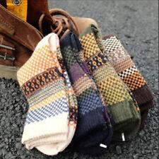 Men's Thicken Warm Wool Socks Multi-color Check Thermal Casual Socks 1 Pair