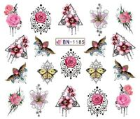 Nail Art Stickers Water Decals Transfers Red  Roses Chandelier (BN1185)