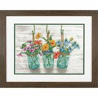 Dimensions 70-35378 Flowers in Mason Jars Cross Stitch Kit, 14 Count White Ai...