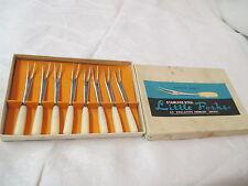 Vintage Japan 8 Knobler stainless Little Forks Cocktail orig box lucite handles
