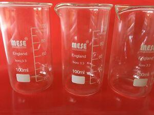 3x 100ml Borosilicate Glass Beakers, Tall-Form