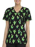 SCRUBSTAR Looking Sharp Flowering Cactus Succulent Scrub Top Mock Wrap Nurse Vet