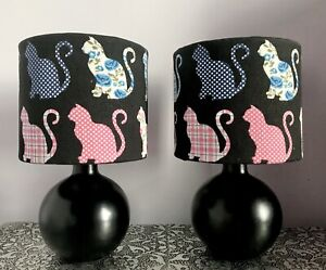 Pair Of  Black/Cat Bedside/Table Lamps/Handcrafted Patchwork Cats Shades