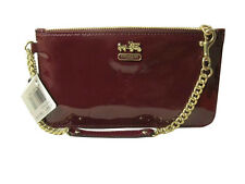 NWT COACH Madison Patent Leather Chain Wristlet wallet handbag Crimson Red 47941