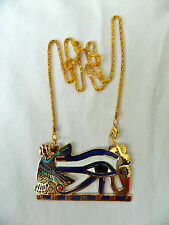Large Egyptian Metal Gold Plated Blue White Eye Of Horus Isis Necklace 1.75X2.75