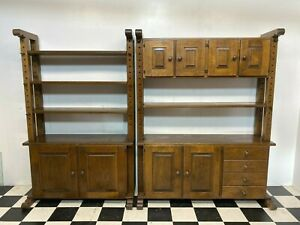 2x Oaky solid oak farmhouse dresser bookcase cabinets wall shelf units -Delivery