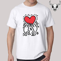 Keith Haring Symbol Heart Love Men's White T-Shirt Size S to 3XL