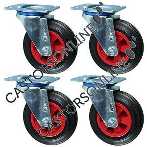 """Heavy Duty Rubber Castor Wheels, 4-Pack, 615KG Load Capacity (200MM/8"""")"""