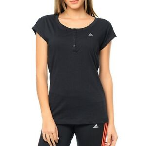 Adidas Ess Young Tee Women Shirt Sport Casual Tunic Blouse Fitness Top Black
