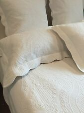 4 pc Queen Bed White Shelbourne Provincial Marcella Coverlet Bedspread Set