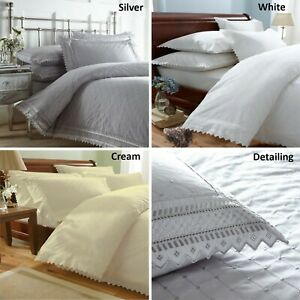 Balmoral Broderie Anglaise Duvet Cover Bed Sets or Pillowcases Bedding Bedlinen