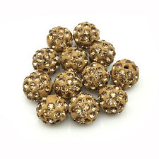 20Pcs/Lot 10mm Coffee Micro Pave Disco Crystal Shamballa Beads Bracelet Spacer