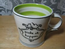 """Molly Hatch Anthropologie """"Make It Happen"""" 12 oz Collectible Coffee Mug Cup-Mint"""