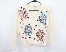 Vintage 80s Womens Medium Silk Angora Rabbit Hair Sequin Knit Ivory Soft Sweater