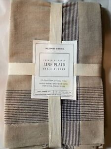 """New Williams Sonoma Plaid 16"""" x 108"""" Linen Cotton Lined Table Runner + 2 Napkins"""