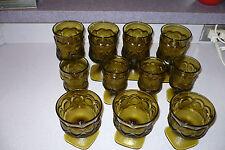 Vintage Set 11pc Noritake Spotlight Mid Century Modern goblet Antique Gold Olive
