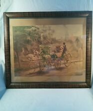 Vtg In Old Virginy Picture Puzzle Weekly Framed Print Southern Belle Wagon Coach