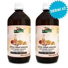 Dr Patkars Apple Cider Vinegar with Ginger Turmeric and Fenugreek 500ml X2