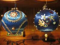 "2 Vintage Handmade Christmas Ornament Push Pin Swarovski Crystals BLUE ~ 5"" X-Lg"